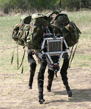 Bio-inspired Big Dog quadruped robot is being developed as a mule that can traverse difficult terrainf