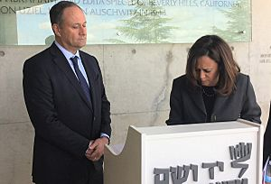 Kamala Harris signing the guest book at Yad Vashem with her husband, Doug24830055418 5323ea6526 h (cropped2)