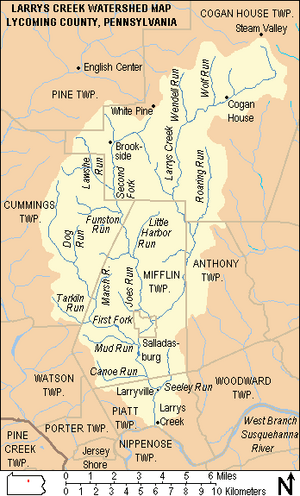 Map showing Larrys Creek, its major tributaries and watershed