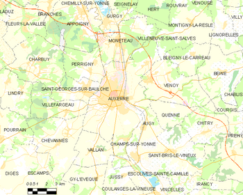 Map of the commune of Auxerre