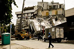 Pyne Gould Building destroyed by earthquake, Christchurch, New Zealand - 20110224