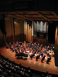 Seattle Symphony Orchestra on stage in Benaroya Hall