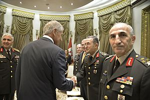 U.S. Secretary of Defense Chuck Hagel, center left, introduces himself to Turkish military leaders Sept 140908-D-NI589-553
