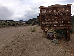 Sign at the west entrance to Ione