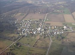 Aerial view of Zanesfield from the east