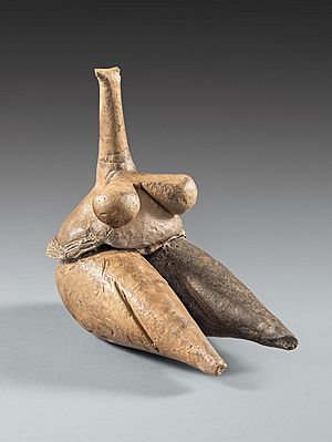 Clay human figurine (Fertility goddess) Tappeh Sarab, Kermanshah ca. 7000-6100 BCE Neolithic period, National Museum of Iran