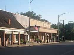 A portion of downtown Madisonville, Texas