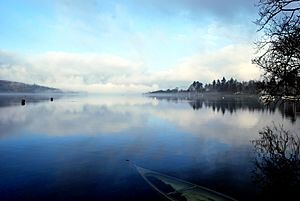 Lake Windermere on a misty morning