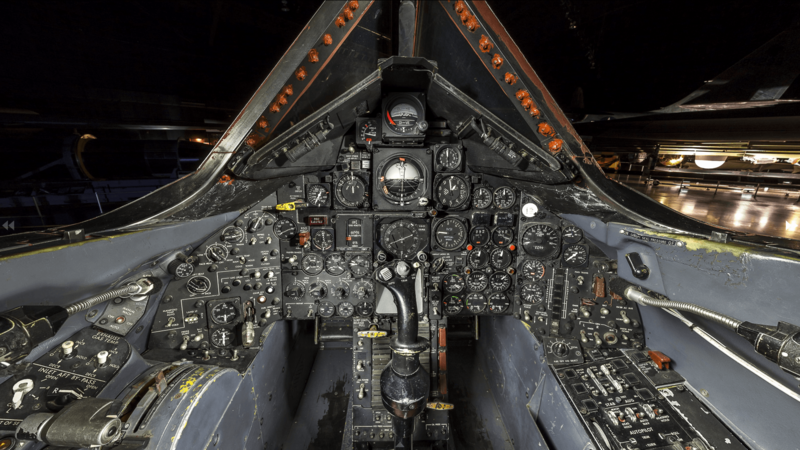 The flight instrumentation of an SR-71's forward cockpit