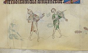 Queen Mary Psalter two men dancing playing citole and rebec