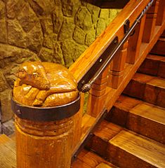Stairway post of a ram - Timberline Lodge Oregon