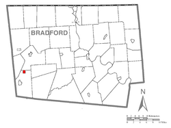 Map of Bradford County with Alba highlighted