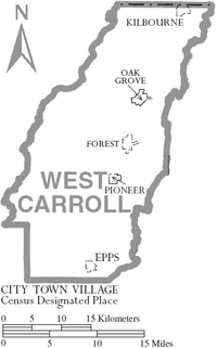 Map of West Carroll Parish Louisiana With Municipal Labels