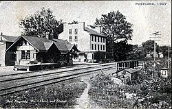 """Port Kennedy, Pa. Hotel and Station"" (1907)."
