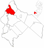 Carneys Point Township highlighted in Salem County. Inset map: Salem County highlighted in the State of New Jersey.