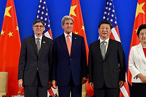 Secretaries Lew and Kerry Pose With Chinese President Xi Before the Chinese Leader Addressed the Opening Session of the U.S.-China Strategic Dialogue in Beijing (27267963990)