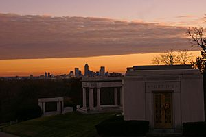 Indianapolis Skyline Sunset from Crown Hill Cemetery