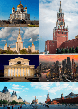 Clockwise, from top right: Spasskaya Tower of the Moscow Kremlin; MIBC; Red Square, Saint Basil's Cathedral; Bolshoi Theatre; Moscow State University; and Cathedral of Christ the Saviour.