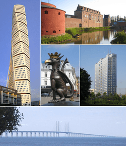 From top left to right: Turning Torso, Malmö Castle, Griffin Sculpture, Kronprinsen and the Øresund Bridge.