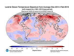 NOAA GLOBAL LAND AND OCEAN TEMP DEPARTURES FROM AVG PAST (1981-2010), FEB 2015