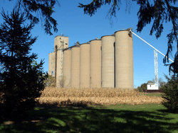 The grain elevators on the west side of town