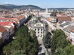 View of Hlavná ulica (Main Street) from St. Elisabeth Cathedral, with the State Theatre Košice building in the center