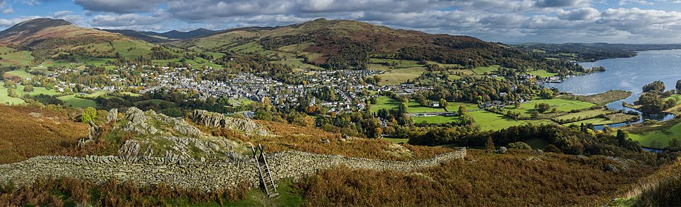 Ambleside View of Ambleside from near the summit of Todd Crag
