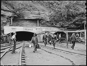 Changing shifts at the mine portal in the afternoon. Inland Steel Company, Wheelwright ^1 & 2 Mines, Wheelwright... - NARA - 541450