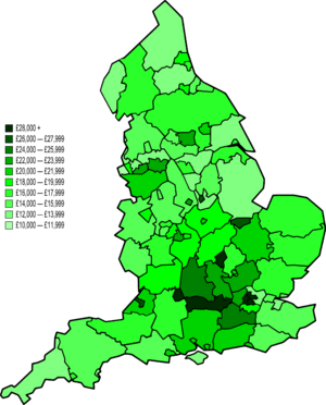 Map of NUTS 3 areas in England by GVA per capita (2007)
