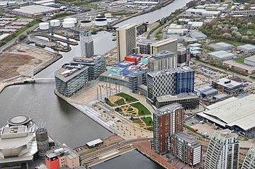 MediaCityUK aerial view April 2011