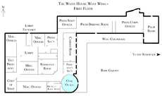 White House West Wing - 1st Floor with the Oval Office highlighted