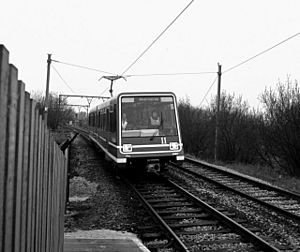 DLR train at Debdale Park Manchester