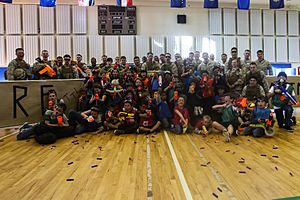 Shoot 'em up, Marines, children duke it out in Nerf battle 150410-M-BQ183-829
