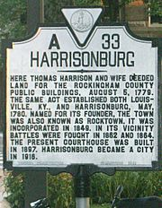 Historical marker Harrisonburg, Virginia A33