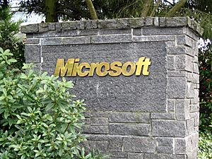 Microsoft sign closeup