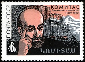 The Soviet Union 1969 CPA 3799 stamp (Komitas and Rural Scene)