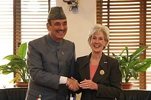 Kathleen Sebelius, Secretary of the U.S. Department of Health and Human Services, met with Ghulam Nabi Azad, Minister of Health and Family Welfare, during her six day visit to India