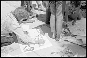 Preparing picket signs at Walgett, February 1965 - The Tribune (20103546013)