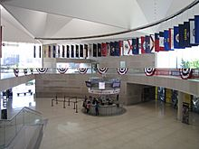 Large lobby, with state flags and bunting