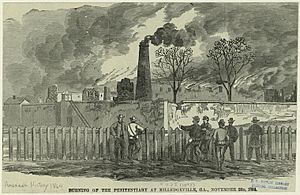 Burning of the penitentiary at Milledgeville, GA - November 23 1864
