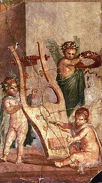 Left image: Silenus holding a lyre, detail of a fresco from the Villa of the Mysteries, Pompeii, Italy, c. 50 BCRight image: Cupids playing with a lyre, Roman fresco from Herculaneum