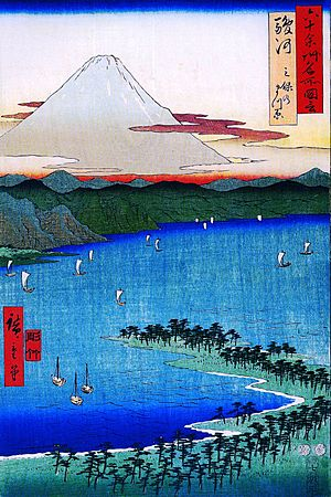 Hiroshige Mount Fuji seen across a ray