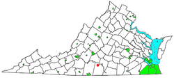 Location of Nathalie, Virginia: the red dot
