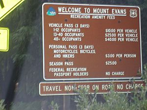 Welcome sign, Mount Evans byway