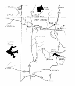 A color map of the Four Corners area of the United States showing major Ancestral Puebloan settlements