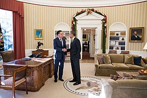 Mitt Romney and Barack Obama Oval Office meeting 2012-11-29