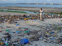 This stretch of coast in Tanzania's capital Dar es Salaam serves as a public waste dump.
