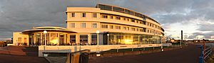 Midland Hotel, Morecambe, in evening sunlight