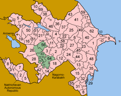 Azerbaijan districts numbered