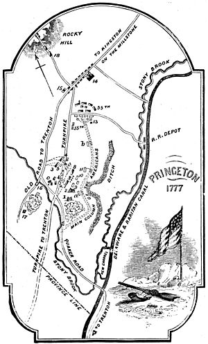 Map of the Battle of Princeton, NJ January 2-3, 1777